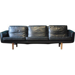 Swedish Three-Seat Leather Sofa by Lennart Bender for Ulferts - 1960s