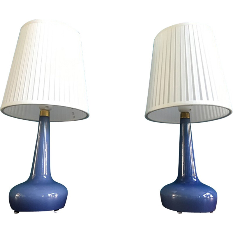 Pair Of Danish Table Lamps Model 311 by Esben Klint for Holmegaard - 1950s