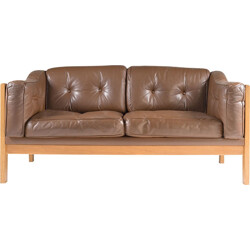 Swedish Oak and Brown Leather Sofa - 1960s