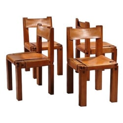Suite of 4 S11 chairs in elm, Pierre CHAPO - 1960s