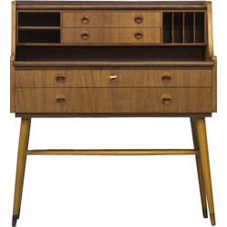 Swedish writing desk in teak with beech feet - 1960s