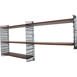 Metal & Teak Wall Shelf by A. Dekker for Tomado - 1960s