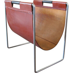 Vintage saddle leather magazine rack produced by Brabantia - 1950s