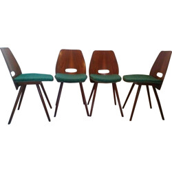 A set of 4 dining chairs in beech wood - 1960s