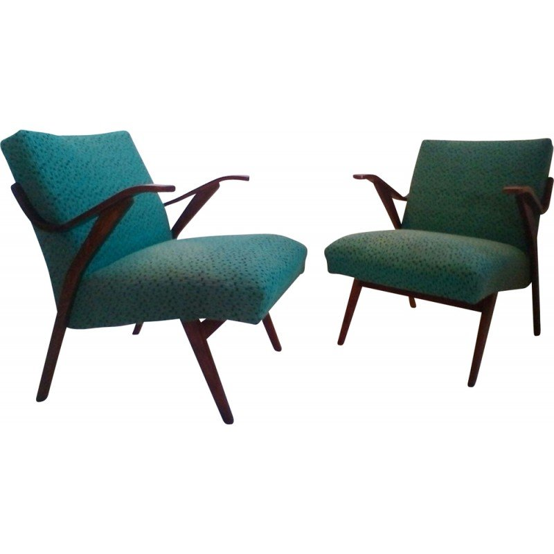 A Pair Of Czech Armchairs In Brussels Style 1960s