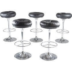 Set of 5 swedish chrome and leather bar stools by Johanson Design - 1970s