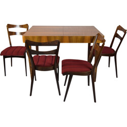 Set of 4 teak dining chairs with a dining table - 1960s