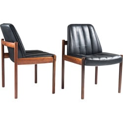Pair of chairs in rosewood and leather by Sven Ivar Dysthe - 1960s