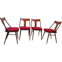 Set of 4 chairs in walnut and beech - 1960s