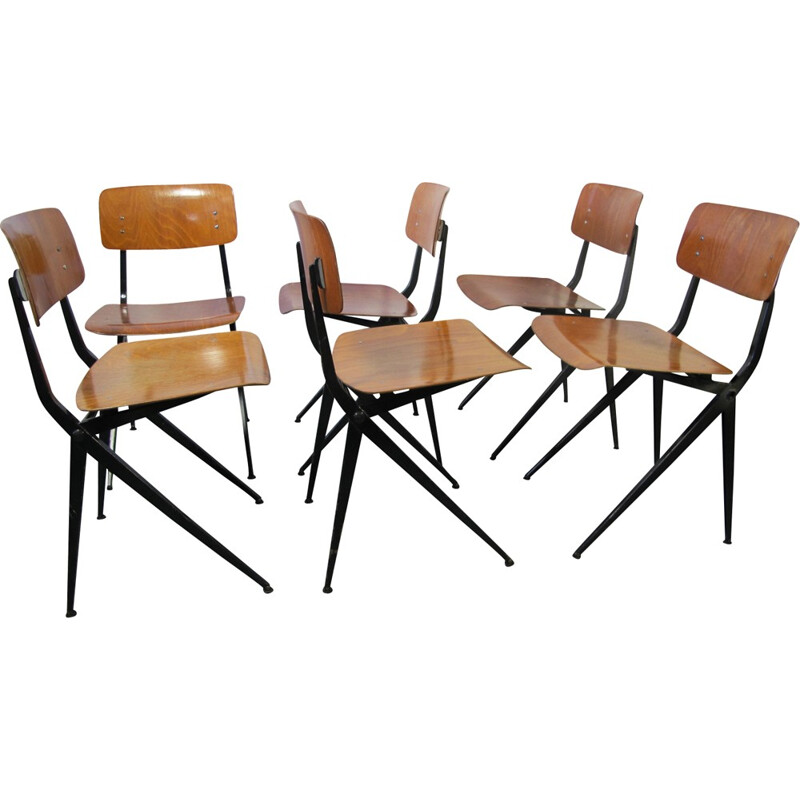 A set of 6 mid century industrial dining chairs by Ynske Kooistra for Marko - 1960s