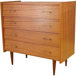 Blond wood vintage chest of drawers with 4 drawers - 1960s
