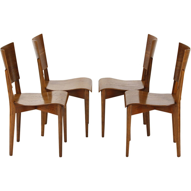 4 Dining Chairs H-59 by Jindrich Halabala - 1930s