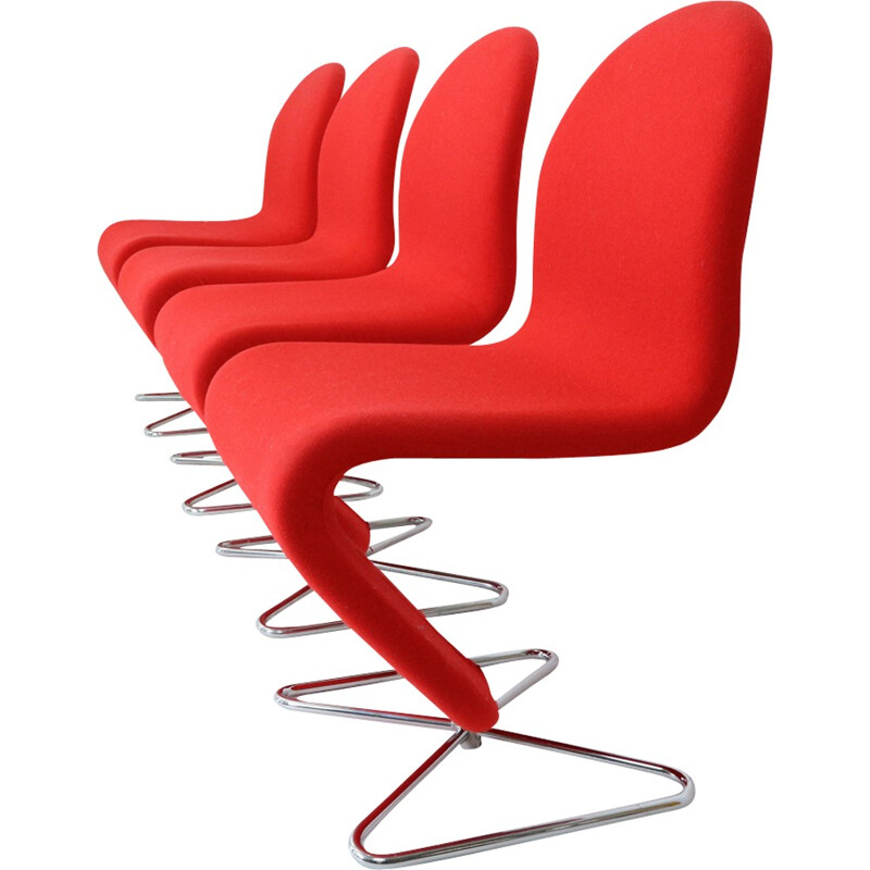 Set of 4 chairs by Verner PANTON for Fritz Hansen - 1970s