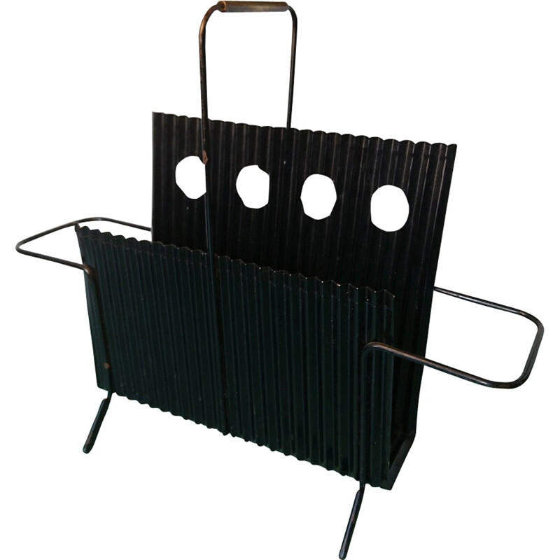 Black magazine rack model JAVA by Mathieu Mategot - 1950s