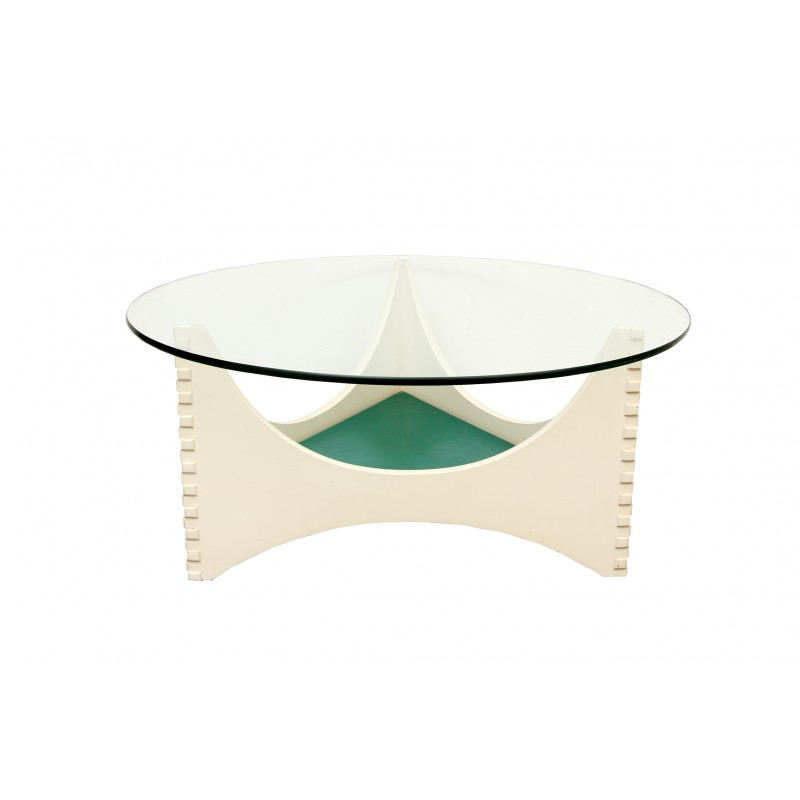 White coffee table with glass top 1960s design market - White table with glass top ...