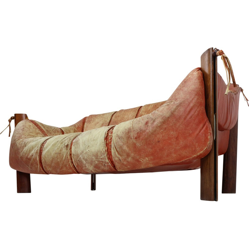 Two-Seater sofa MP-211 by Percival Lafer in wood and leather - 1970q