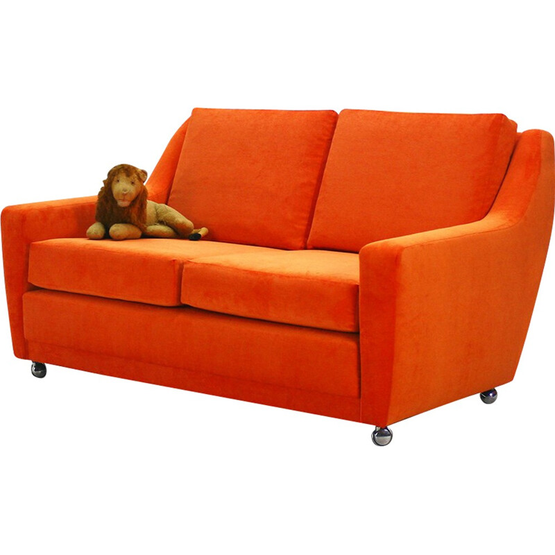 2 -seater reupholstered orange sofa - 1970s
