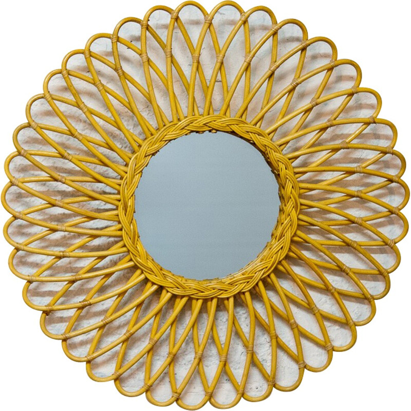 Sun shaped  mirror with rattan curved rods - 2000s