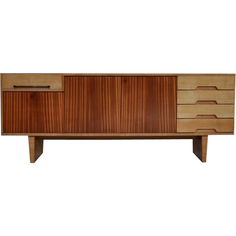 Sideboard by Robert Debiève produced by Minvielle in mahogany and ash - 1950s
