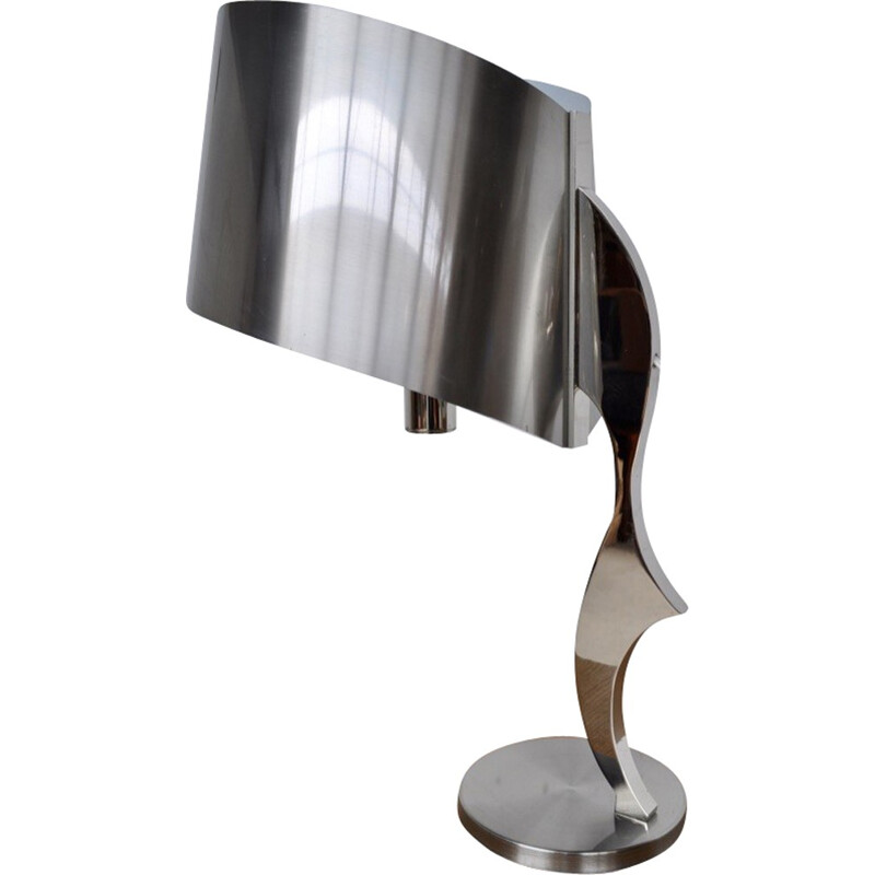 Lamp in chromed steel by Henri Mathieu - 1970s
