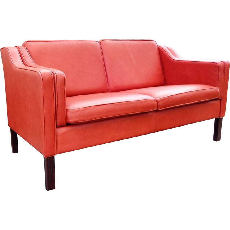 Eva 2-seater sofa upholstered in leather produced by Stouby Mobler - 1980s