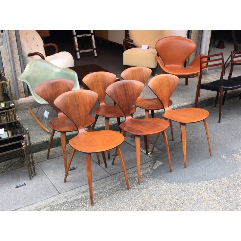 set of 6 chairs by norman cherner for plycraft 1960s vintage design furniture