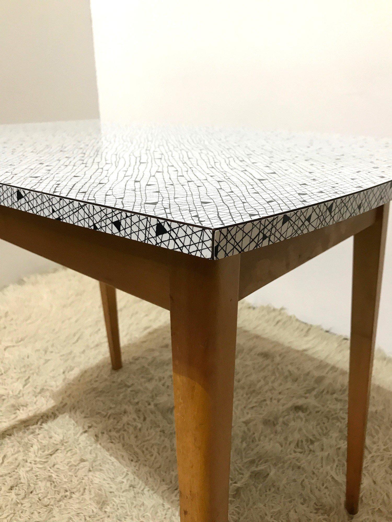 vintage formica side table 1950s design market. Black Bedroom Furniture Sets. Home Design Ideas