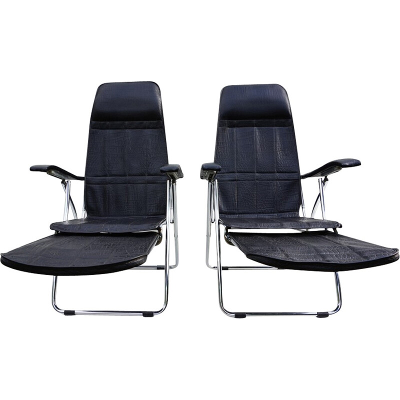 Pair of Italian Folding and Reclining garden chairs from Maule - 1970s