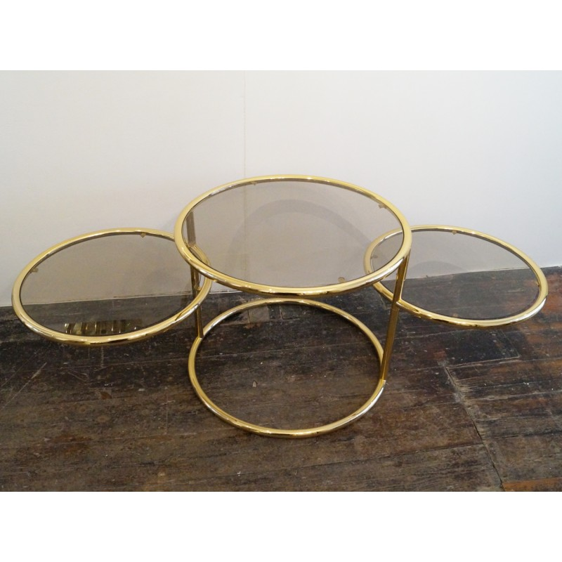Mid Century 3 Tiered Brass And Glass Swivel Coffee Table 1980s Design Market