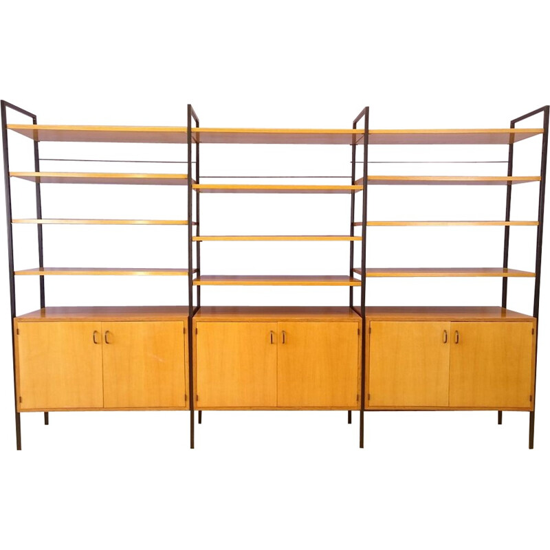 Modular clear oak and metal bookcase - 1950s
