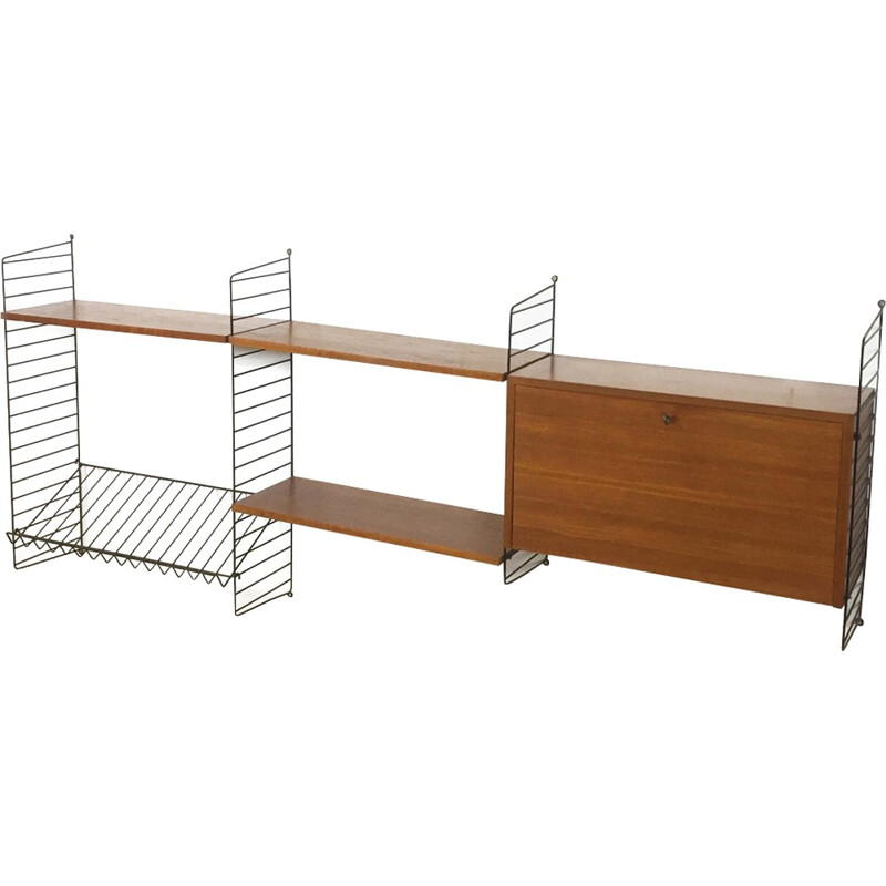 Wall Unit in Teak with cabinet by Nisse Strinning for String Design AB - 1960s