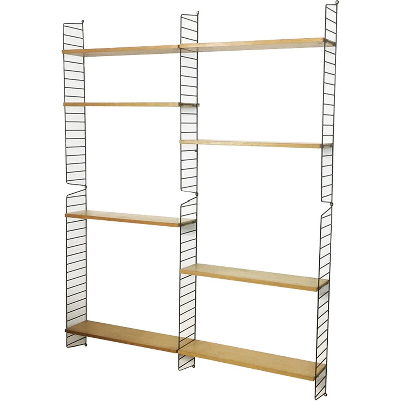 Swedish Ash Wood storage Wall Unit by Nisse Strinning for String - 1960s