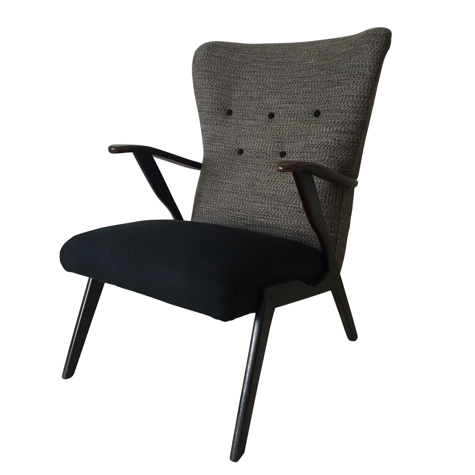 Black And Grey Wingback Chair 1950s