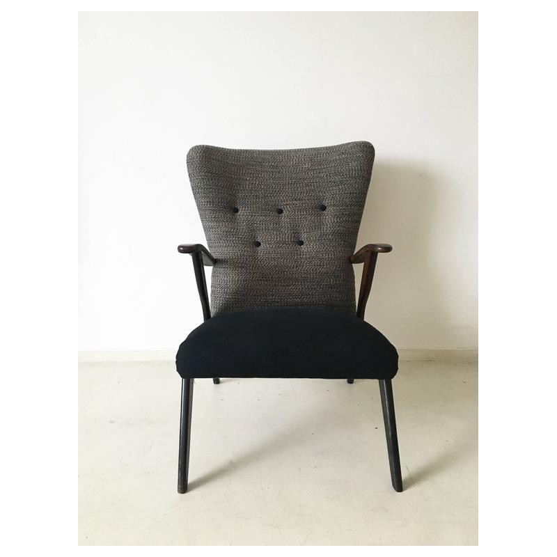 Black and grey wingback chair 1950s Design Market