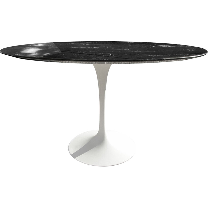 Black table in aluminium and marble by Saarinen edition Knoll International - 1990s