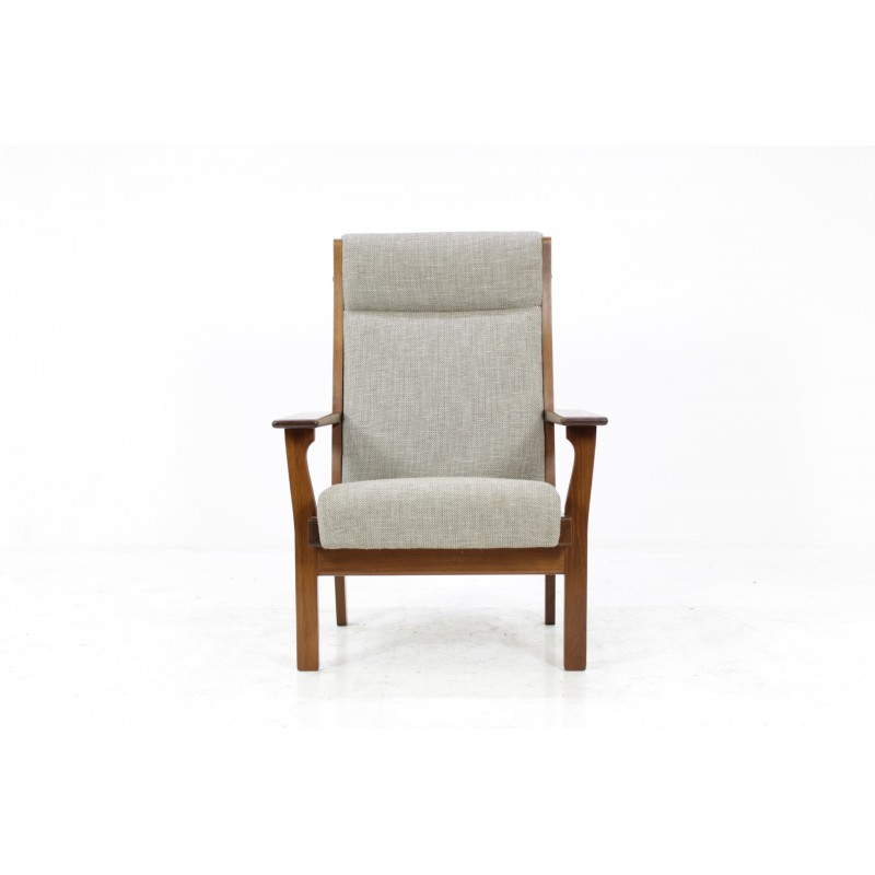 ge181 high back easy chair by hans wegner for getama 1960s