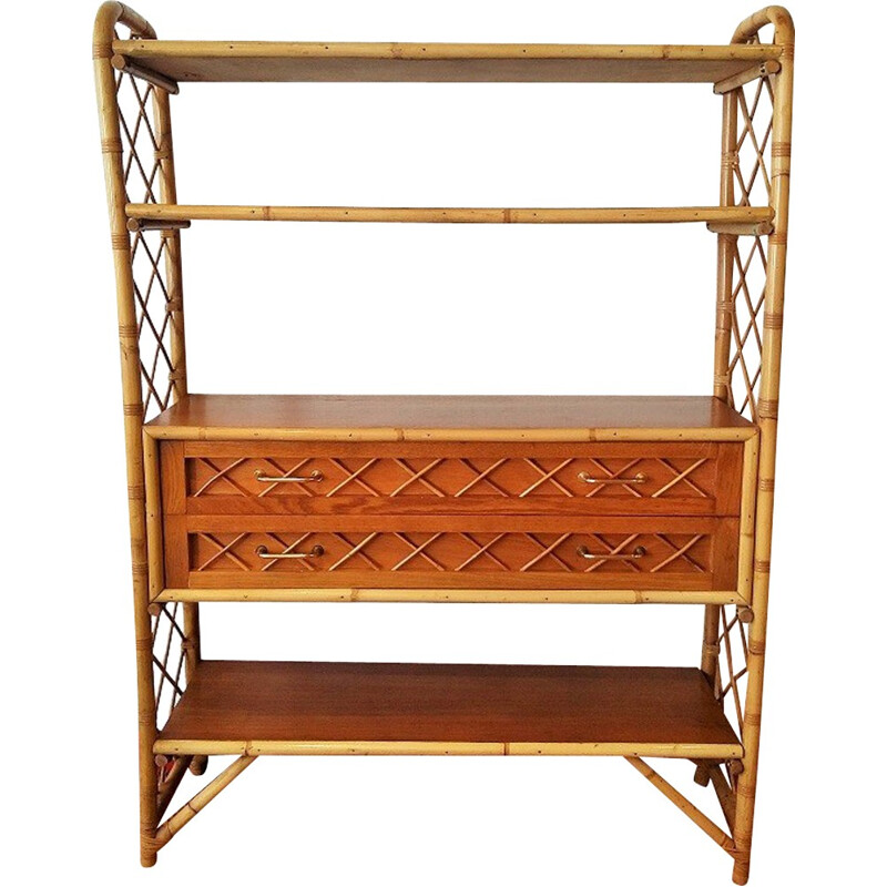 Rattan bookcase with 4 shelves and 2 drawers - 1960s