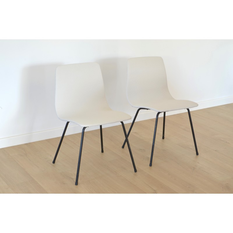 pair of chairs model papyrus by pierre guariche for steiner 1950s