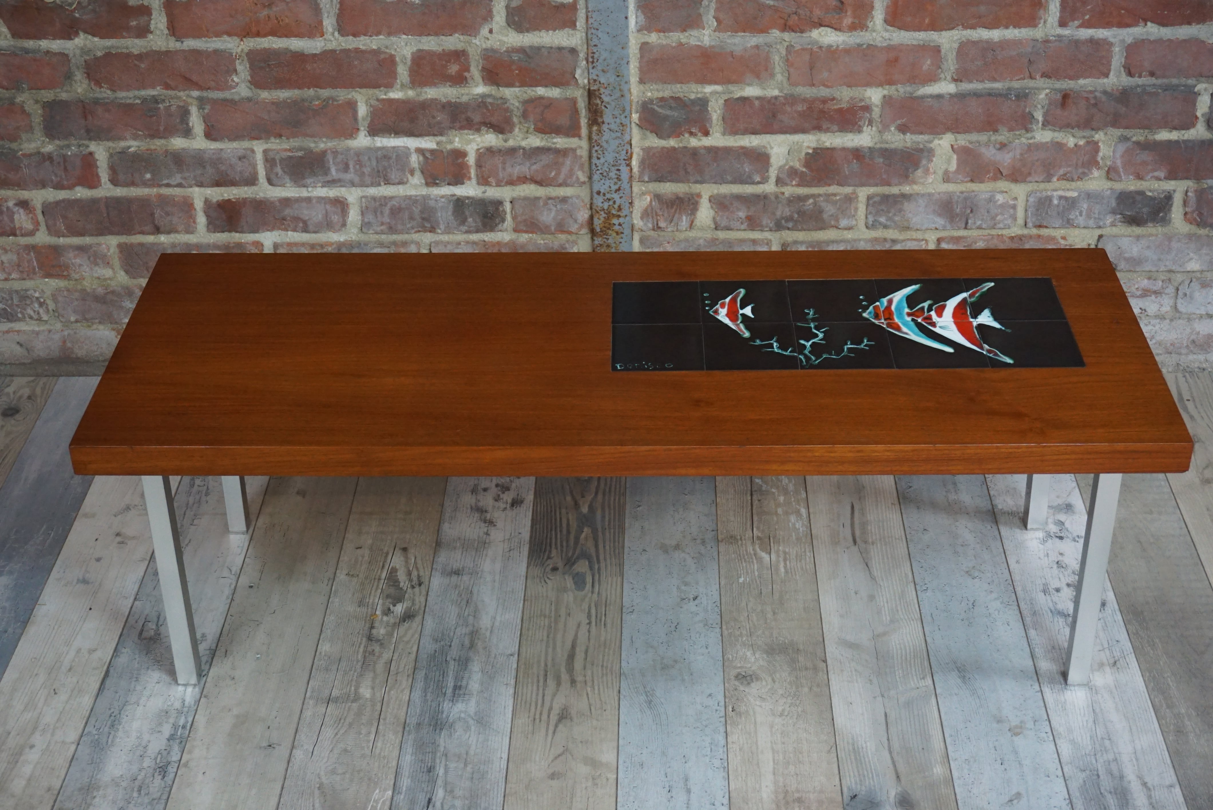 60s teak and ceramic design coffee table by de nisco 1960s previous next geotapseo Image collections