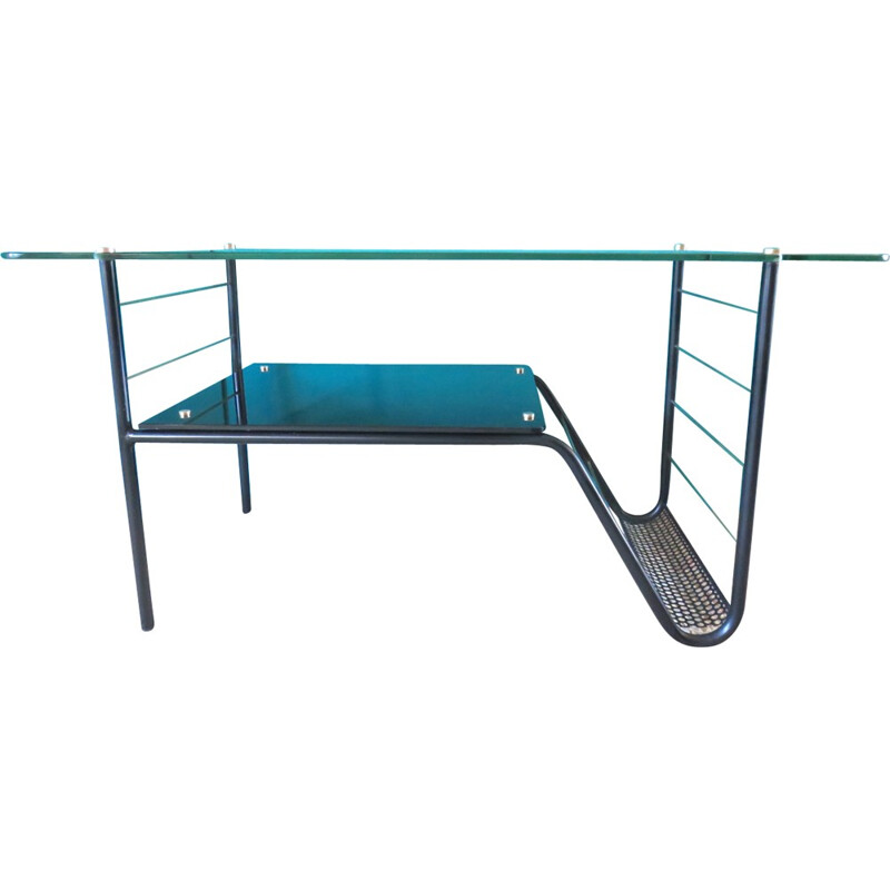 Table in steel and glass with magazine rack - 1950s