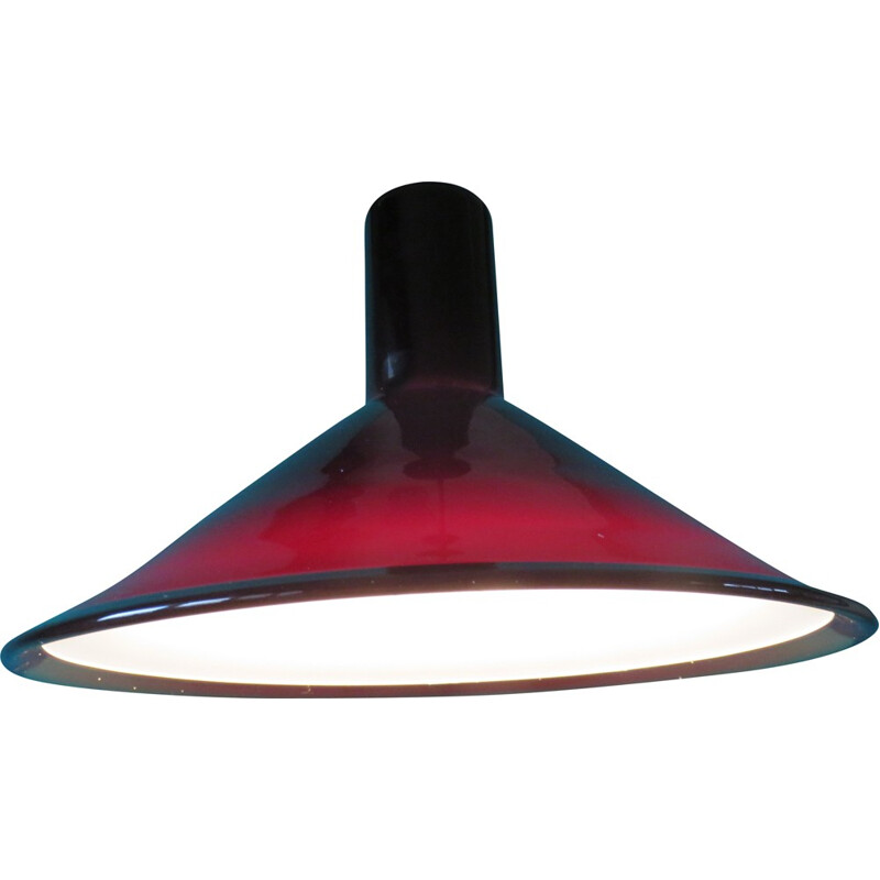 Glass hanging lamp in red-colored glass by Michael Bang - 1960s