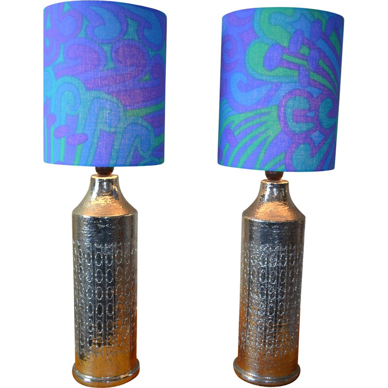 Set of 2 glazed ceramic table lamps by Bitossi for Bergbom - 1960s