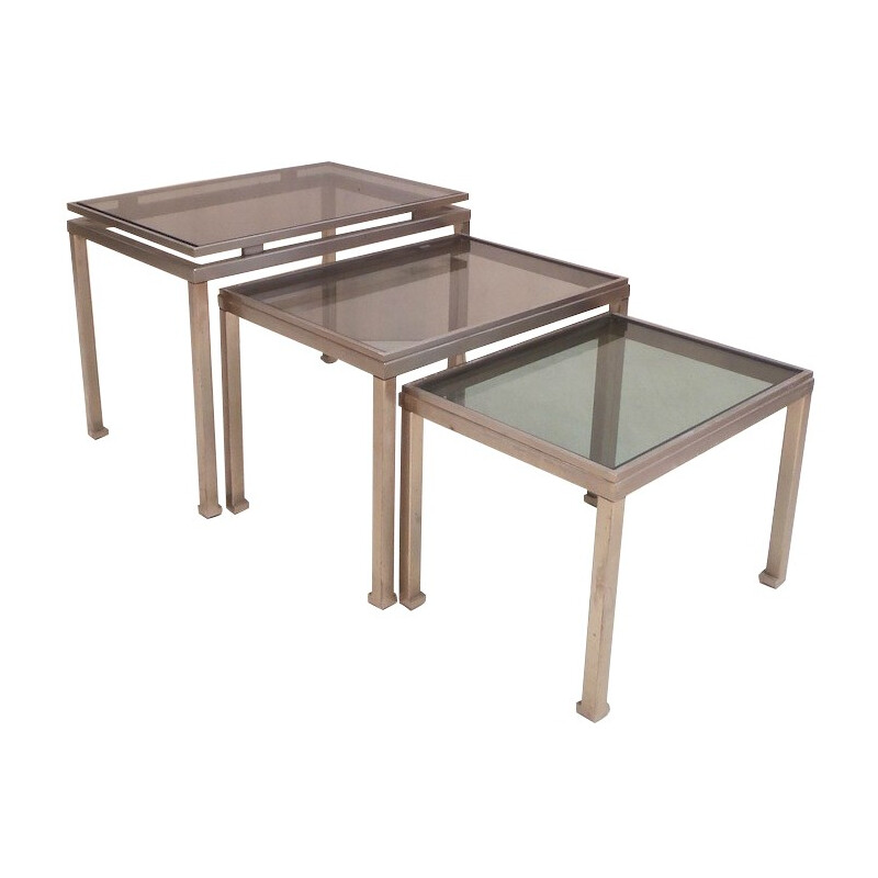 Suite of 3 nesting tables, Guy LEFEVRE - 1970s
