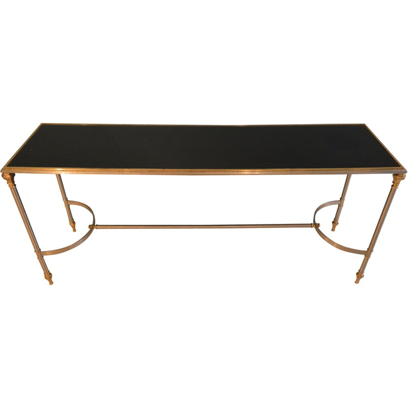 Steel, brass and black opaline console table - 1970s