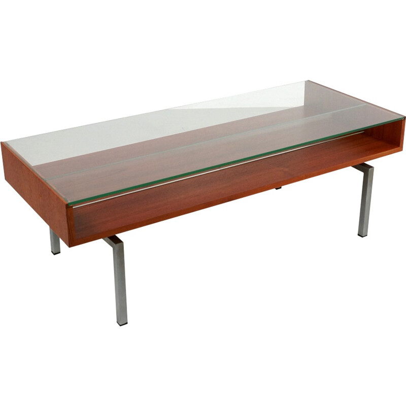 Vintage coffee table in teak and glass - 1960s