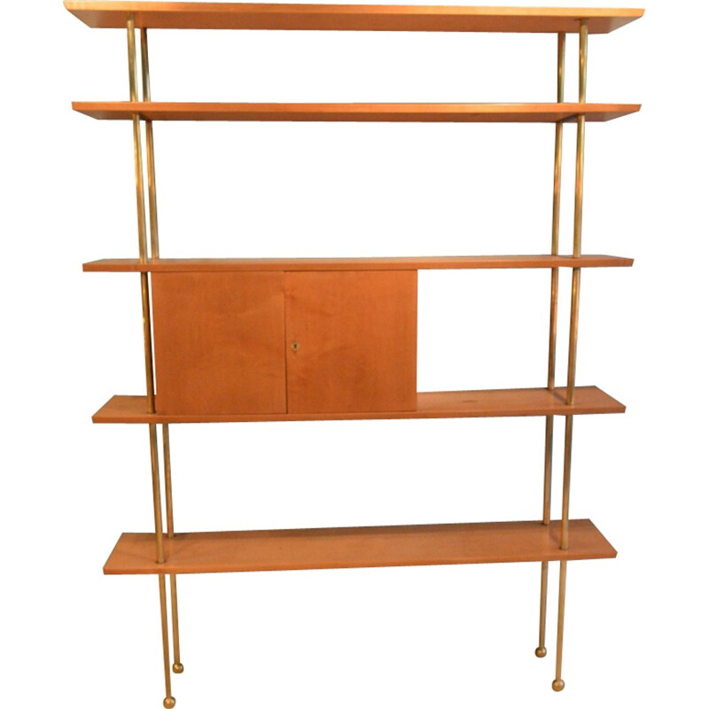 5-shelves bookcase in wood and brass - 1960s