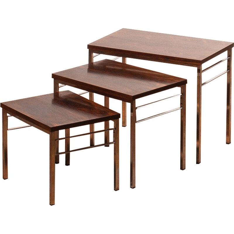Set of 3 rosewood nesting tables - 1960s