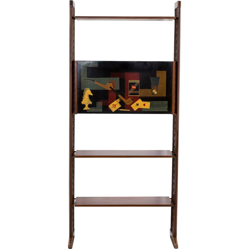 Wall unit in teak with 3 shelves - 1950s