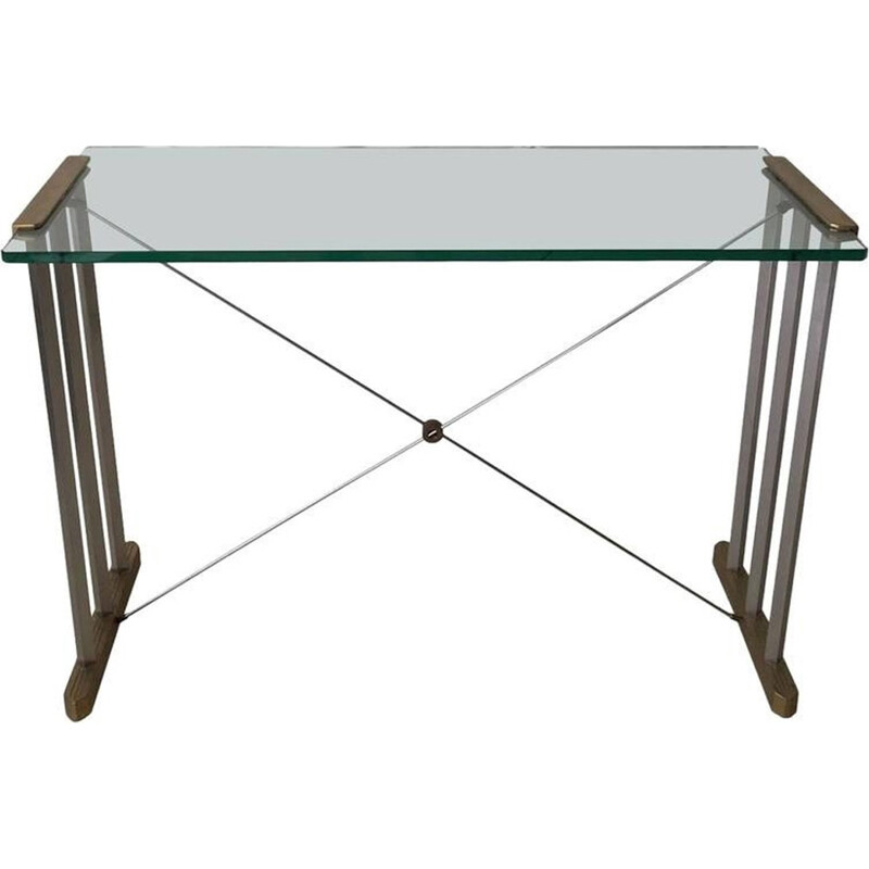 Brass and steel console by Peter Ghyczy - 1990s