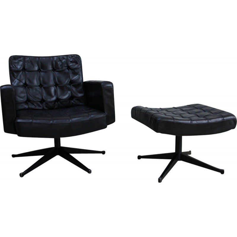 Phenomenal Vintage Swivel Lounge Chair And Ottoman In Black Leather By Vincent Cafiero For Knoll 1960S Uwap Interior Chair Design Uwaporg